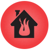 Fire and water damage repair icon in Lexington, KY.
